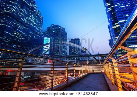 lighting of modern building landmark in heart of bangkok thailand