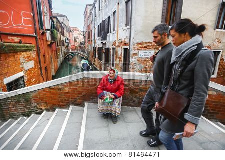 Woman Begging For Money In Venice