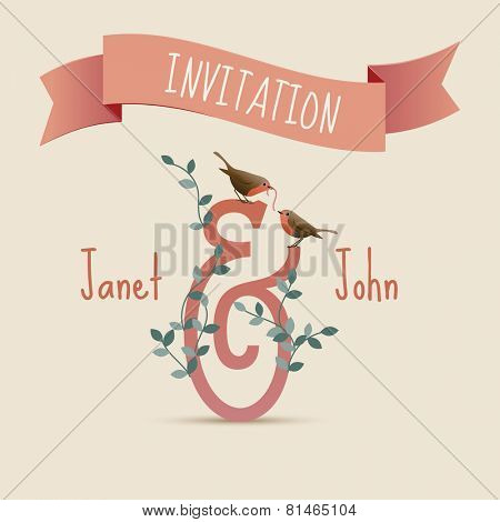 Wedding invitation card, birds and worm, eps10 vector