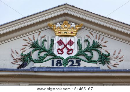 LEIDEN,NETHERLANDS - SEPTEMBER 8,The Leiden coat of arms on the Koornbrug
