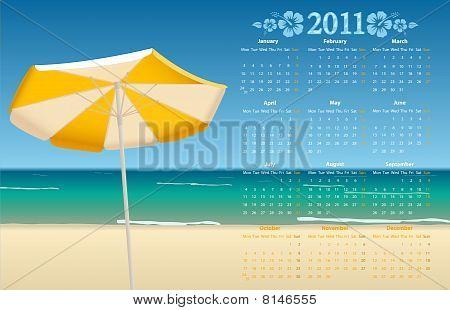 Vector calendar 2011 with tropic beach