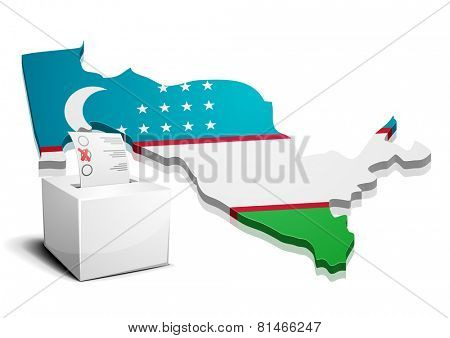 detailed illustration of a ballotbox in front of a map of Uzbekistan, eps10 vector