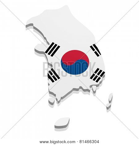 detailed illustration of a map of South Korea with flag, eps10 vector