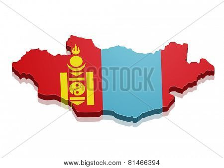 detailed illustration of a map of Mongolia with flag, eps10 vector