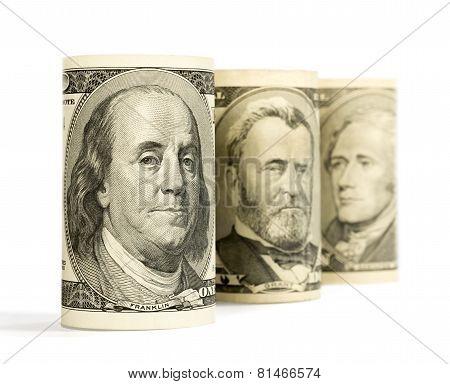 United States Dollars Isolated On White