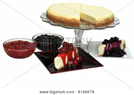 Strawberry And Blueberry Cheesecake Isolated