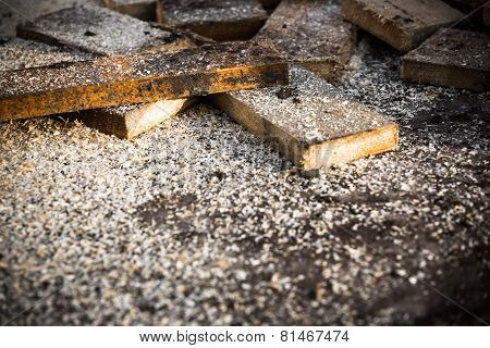 Sawn Off Pieces Of Wood