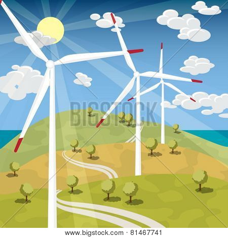 Wind Energy - Wind Turbines with Blue sky sunny landscape
