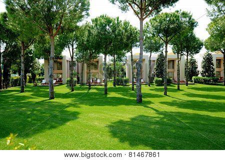 The Lawn And Buildings Of Luxury Villas, Antalya, Turkey