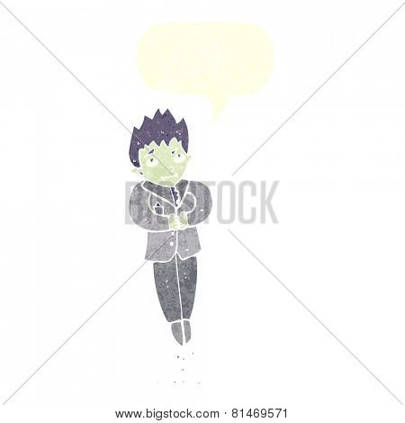 cartoon floating vampire with speech bubble