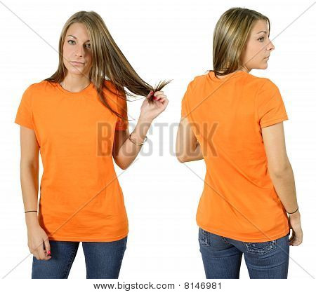 Female Wearing Blank Orange Shirt