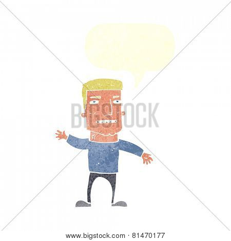 cartoon waving stressed man with speech bubble