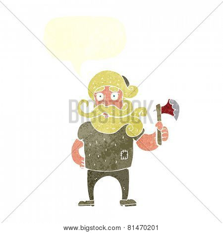 cartoon lumberjack with axe with speech bubble