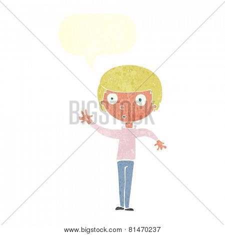 cartoon staring boy with speech bubble