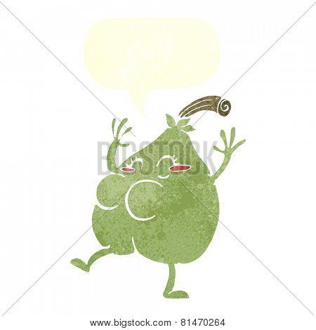 a nice pear cartoon with speech bubble
