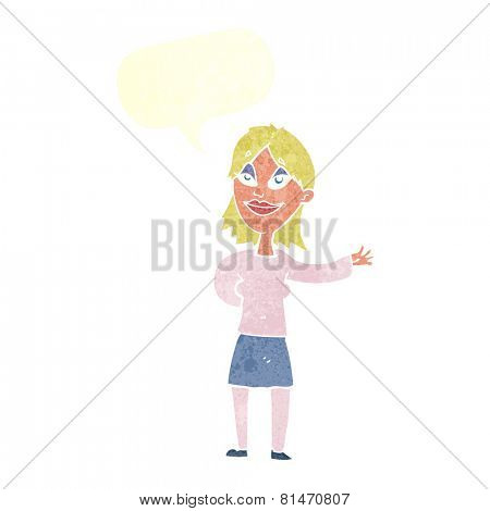 cartoon woman gesturing to show something with speech bubble