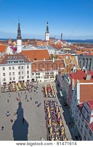 Tallinn. Estonia. Top view of the Town Hall Square