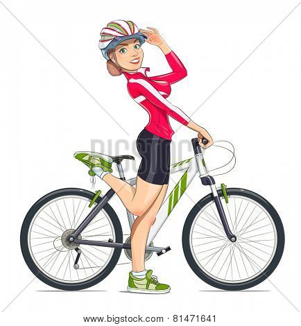 Beautiful girl in helmet with mountain bike. Sport. Eps10 vector illustration. Isolated on white background