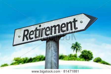 Retirement sign with a beach on background