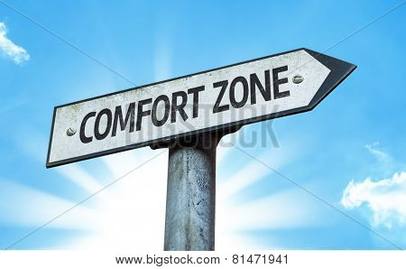 Comfort Zone sign with a beautiful day