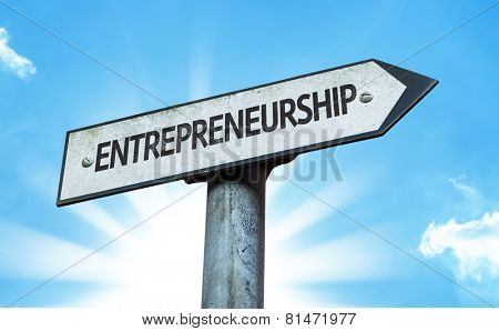 Entrepreneurship sign with a beautiful day