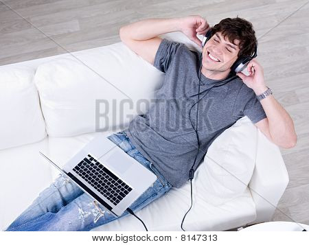 Happy Man Listening Music