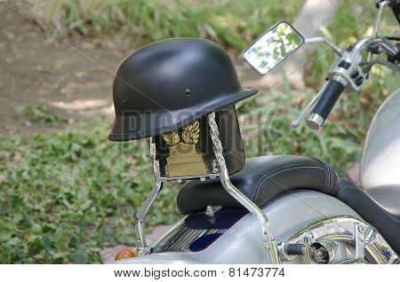 Protective Helmet On A Motorcycle