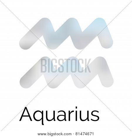 Zodiac Symbol Aquarius, Vector Sign.