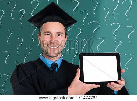 Graduate Man Showing Blank Digital Tablet