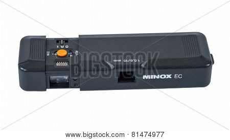 Minox Ec Subminiature Camera Isolated On The White Background