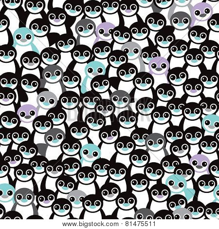 Seamless little retro black and white penguins adorable kids illustration background pattern in vector