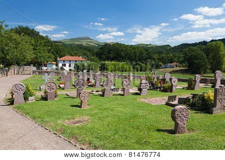 Cemetery In The Village Of The Basque, Mountains, France