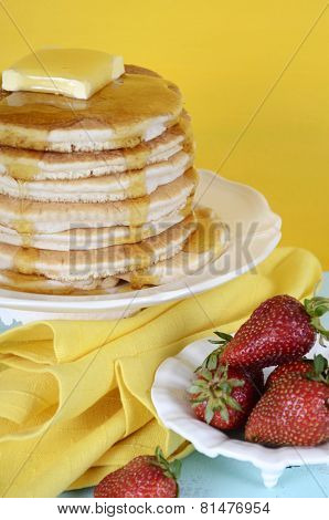 Shrove Pancake Tuesday Stack Of Pancakes With Honey And Butter On Yellow And Aqua Blue Vintage Shabb