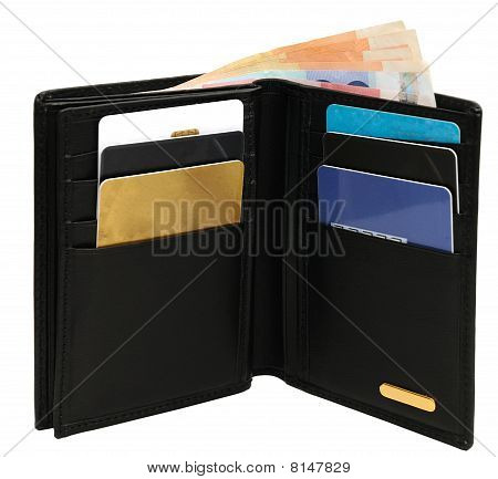 Open wallet isolated on white