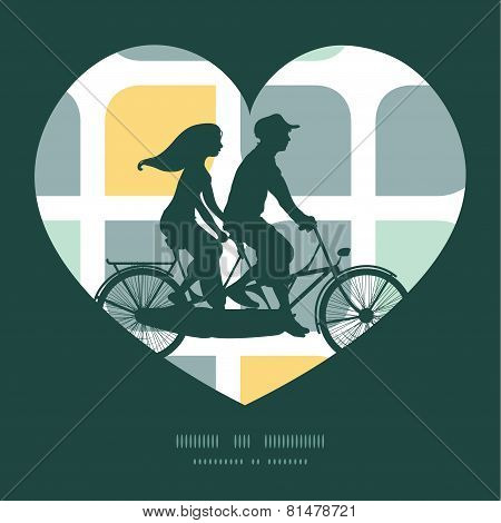 Vector abstract gray yellow rounded squares couple on tandem bicycle heart silhouette frame pattern