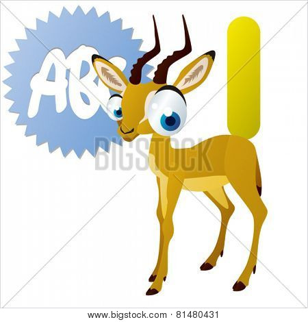 animal abc: I is for cute little comic cartoon illustration of Impala