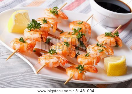 Grilled Shrimp Skewers Closeup. Horizontal