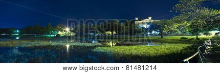 180 degree night panorama of Beaufort, South Carolina