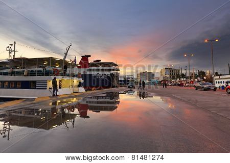 Passenger port in Athens.