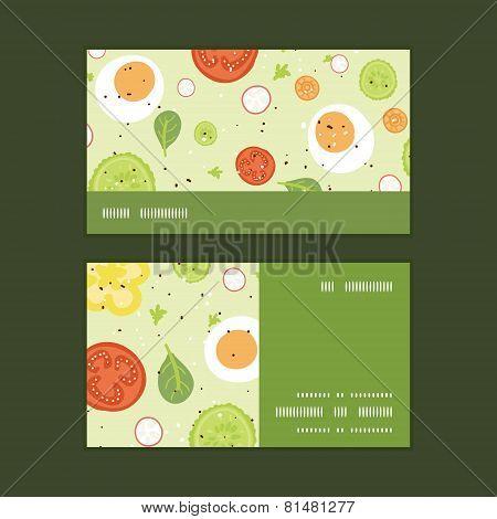 Vector fresh salad horizontal stripe frame pattern business cards set