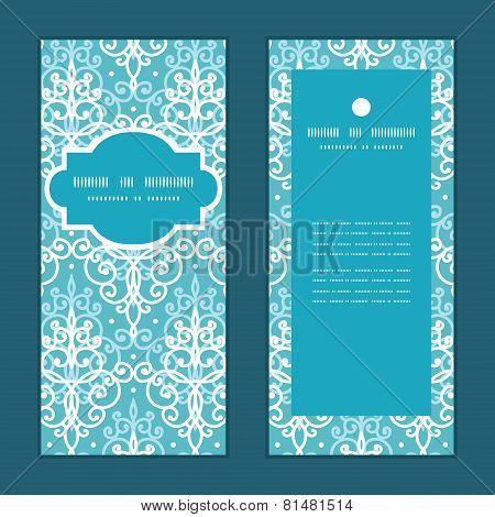 Vector light blue swirls damask vertical frame pattern invitation greeting cards set