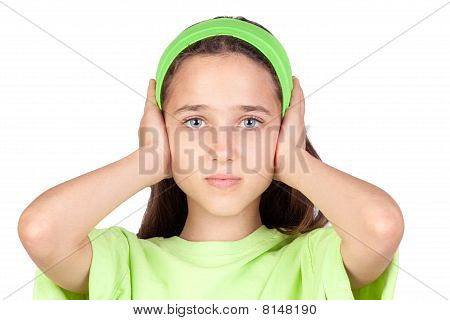 Frightened Girl With Ears Plugged