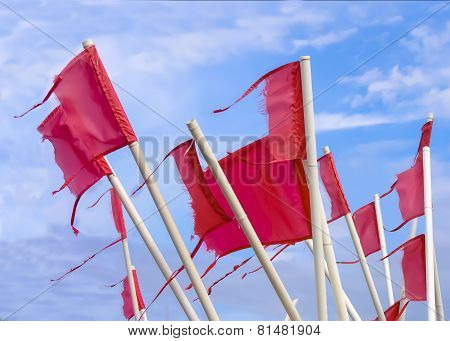 Red, Weathered Fishermen's Flags
