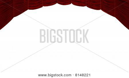 Red Curtain Isolated Over White