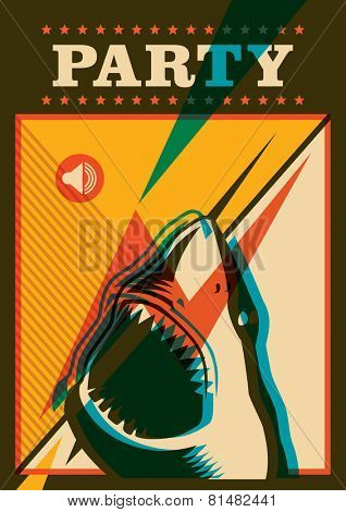 Party poster with shark. Vector illustration.