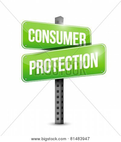 Consumer Protection Road Sign Illustration Design