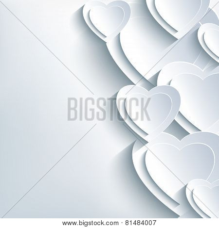 Modern Background Grey With Paper 3D Hearts