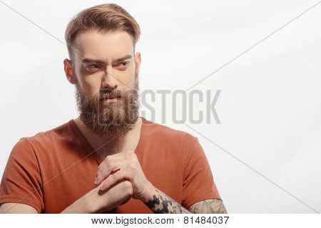 Handsome bearded man getting furious