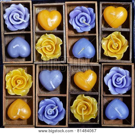 Candle Roses And Candle Hearts In Wooden Box