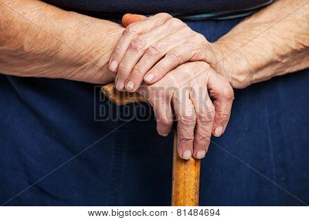 Closeup of senior woman's hands on wooden stick